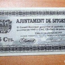 Monedas República: ANTIGUO PAPEL MONEDA AJUNTAMENT DE SITGES REP.ESPAÑOLA. Lote 191220445