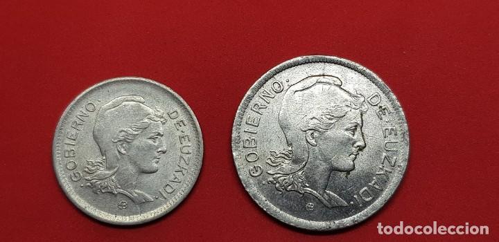 1 PESETA Y 2 PESETAS GOBIERNO EUZKADI (Numismática - España Modernas y Contemporáneas - República)