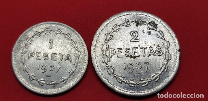 Monedas República: 1 PESETA Y 2 PESETAS GOBIERNO EUZKADI - Foto 2 - 192274438