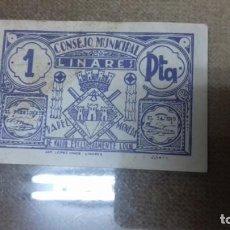 Monedas República: LOTE DE DOS BILLETES LOCALES DE LINARES. Lote 192835097