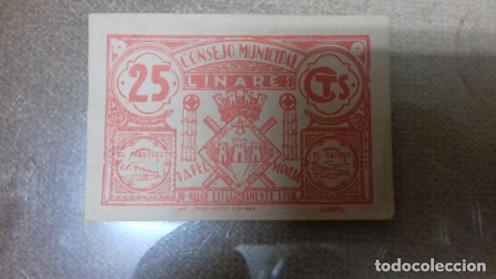 Monedas República: Lote de dos billetes locales de LINARES - Foto 2 - 192835097
