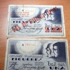 Monedas República: BILLETES CONDELL MUNICIPAL DE FIGERES . MARZO 1037. Lote 192912051