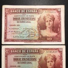 Monedas República: 2 BILLETES 10 PESETAS 1935 MBC.. Lote 193832088