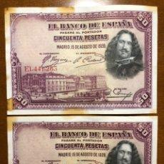 Monedas República: LOTE 2 BILLETES CORRELATIVOS 50 PESETAS 1928 BC. Lote 193839822