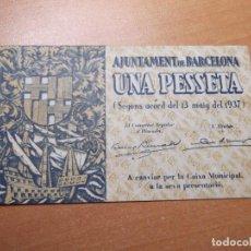Monedas República: BILLETE AJUNTAMENT DE BARCELONA MAIG 1937 1 PTS. Lote 194894536