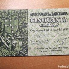 Monedas República: BILLETE AJUNTAMENT DE BARCELONA 13 MAIG 1937 50 CTS. Lote 194895120