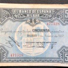 Monedas República: BILLETE 50 PESETAS 1937. BC. Lote 194914568