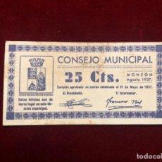 Moedas República: BILLETE LOCAL 25 CÉNTIMOS MONZÓN 1937 GUERRA CIVIL S/C. Lote 195143873