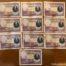 Monedas República: LOTE 10 BILLETES 50 PESETAS 1928 B/C.. Lote 196359867