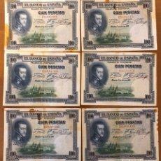 Monedas República: LOTE 6 BILLETES 100 PESETAS 1925. B/C.. Lote 196360498