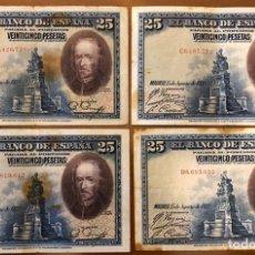 Monedas República: LOTE 4 BILLETES 25 PESETAS 1928. B/C. Lote 196360975