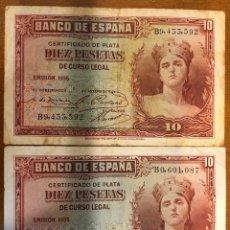 Monedas República: LOTE 2 BILLETES 10 PESETAS 1935. B/C. Lote 196361328