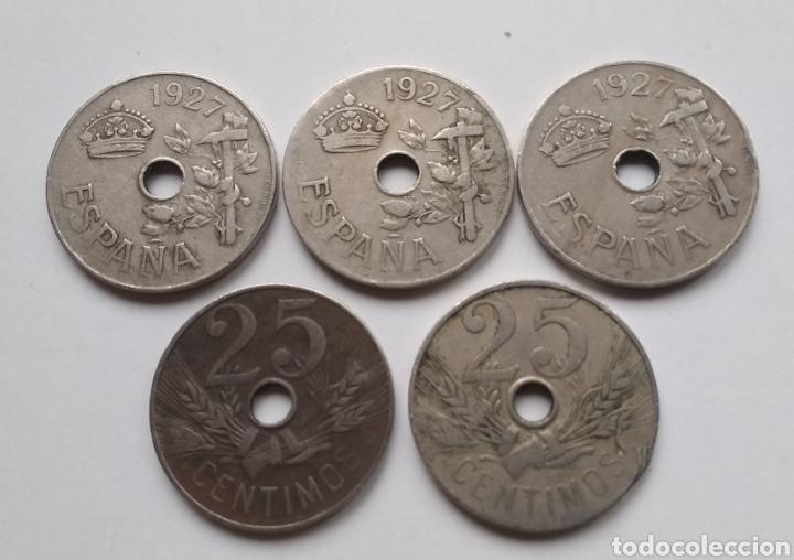 LOTE DE 5 MONEDAS DE 25 CÉNTIMOS DE 1927 (Numismática - España Modernas y Contemporáneas - República)