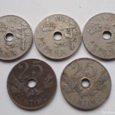Monedas República: LOTE DE 5 MONEDAS DE 25 CÉNTIMOS DE 1927. Lote 197389386