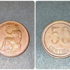 Monedas República: MONEDA. ESPAÑA. 50 CENTIMOS. PUNTOS CUADRADOS. EBC. 1937. ESTRELLA *6*. VER FOTOS. Lote 198990950