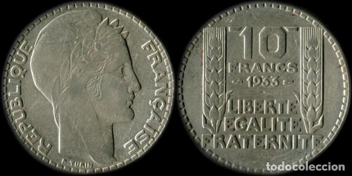 FRANCIA MONEDA 10 FRANCOS TURIN AÑO 1933 PLATA 10 GRAMOS KM#878 (Numismática - España Modernas y Contemporáneas - República)