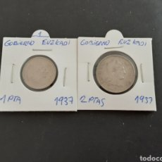 Monedas República: 2 MONEDA 1 Y 2 PESETAS 1937 GOBIERNO EUKADI SEGUNDA REPÚBLICA ESPAÑOLA. Lote 201937022