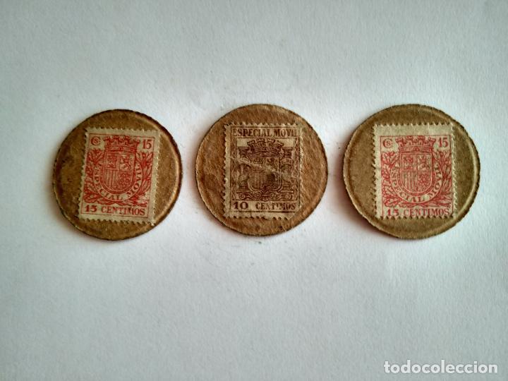 Monedas República: LOTE 3 CARTONES REPÚBLICA ESPAÑOLA GUERRA CIVIL MONEDA NECESIDAD CARTÓN CON SELLO ESPAÑA - Foto 3 - 201998016