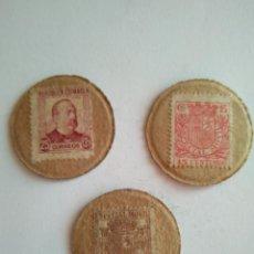 Monedas República: LOTE 3 CARTONES REPÚBLICA ESPAÑOLA MONEDA NECESIDAD GUERRA CIVIL ESPAÑA CARTÓN CON SELLO. Lote 201999402