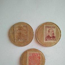 Monedas República: LOTE 3 CARTONES REPÚBLICA ESPAÑOLA GUERRA CIVIL ESPAÑA MONEDA DE NECESIDAD CARTÓN CON SELLO. Lote 202000191