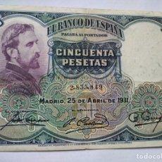 Monedas República: 50 PESETAS BANCO ESPAÑA 1931. Lote 202001368