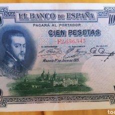 "Monedas República: 100 PESETAS DE 1925 SERIE ""F"", FELIPE II. MBC+. Lote 202740692"