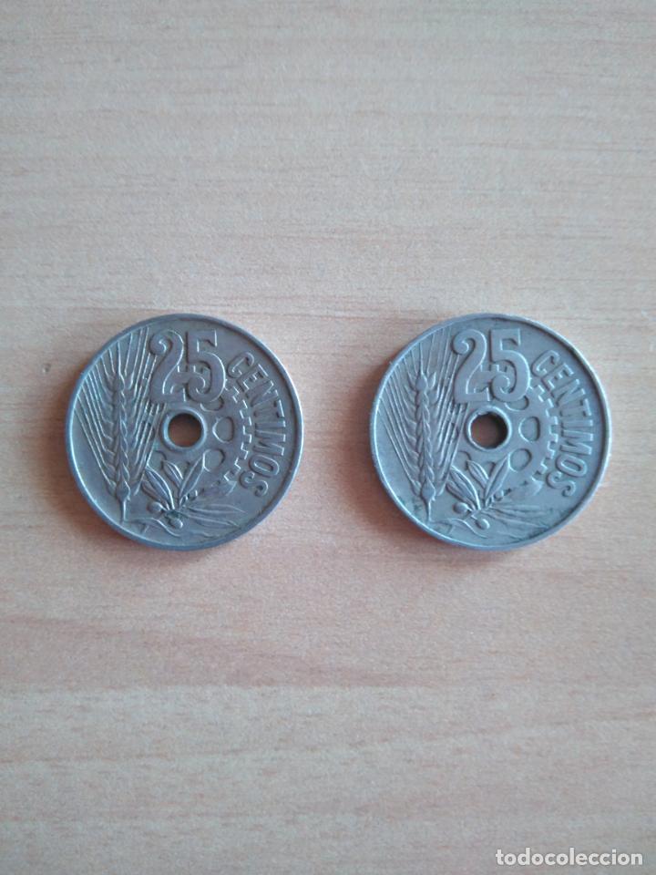 Monedas República: LOTE 2 MONEDAS 25 CÉNTIMOS REPÚBLICA ESPAÑOLA AÑO 1934 GUERRA CIVIL. VER FOTOGRAFIAS - Foto 2 - 203780897