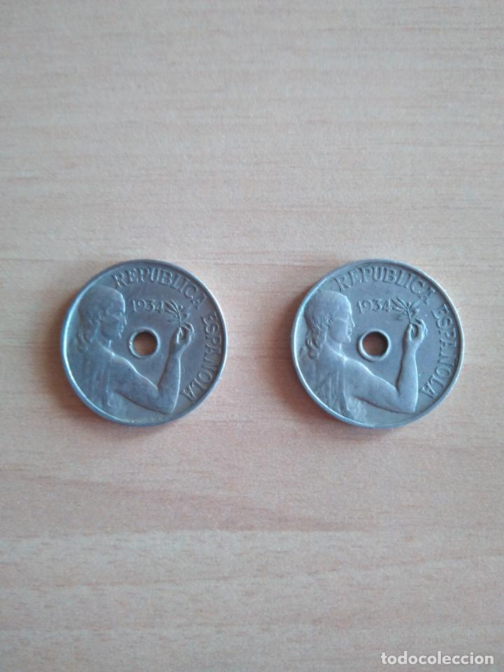 Monedas República: LOTE 2 MONEDAS 25 CÉNTIMOS REPÚBLICA ESPAÑOLA AÑO 1934 GUERRA CIVIL. VER FOTOGRAFIAS - Foto 3 - 203780897