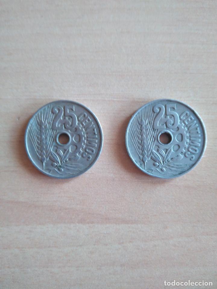 Monedas República: LOTE 2 MONEDAS 25 CÉNTIMOS REPÚBLICA ESPAÑOLA AÑO 1934 GUERRA CIVIL. VER FOTOGRAFIAS - Foto 4 - 203780897