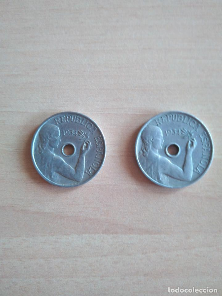 LOTE 2 MONEDAS 25 CÉNTIMOS REPÚBLICA ESPAÑOLA AÑO 1934 GUERRA CIVIL. VER FOTOGRAFIAS (Numismática - España Modernas y Contemporáneas - República)
