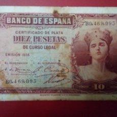 Monedas República: MGS - BILLETE DE 10 PESETAS 1935 ALEGORÍAS RC. Lote 204668217