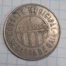 Monedas República: MONEDA MUNICIPAL. GUERRA CIVIL. SEGARRA DE GAIA. 1 PESETA. Lote 207087592