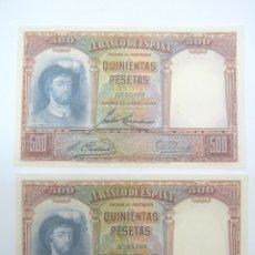 Monedas República: PAREJA DE BILLETES CORRELATIVOS 1931 QUINIENTAS 500 PESETAS - SIN SERIE S/C - JUAN SEBASTIAN ELCANO. Lote 209862166