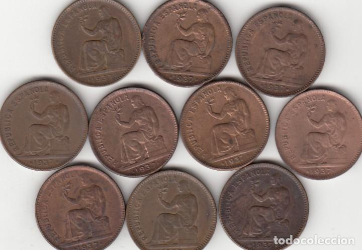10 MONEDAS: II REPUBLICA: 50 CENTIMOS 1937 ESTRELLA 3-4 (Numismática - España Modernas y Contemporáneas - República)