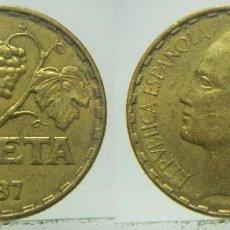 Moedas República: MONEDA DE ESPAÑA - II REPÚBLICA 1 PESETA 1937. Lote 211844858