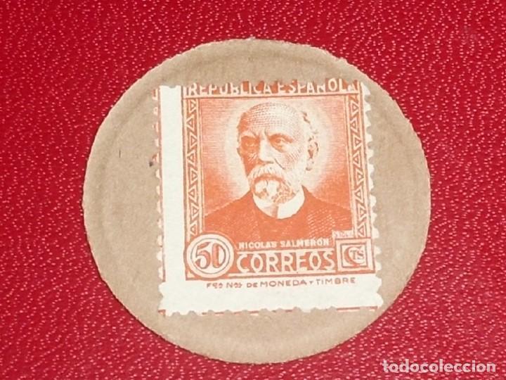 SELLO MONEDA. Nº 28. 50 CENT, NARANJA - NICOLAS SALMERON MUY RARO. RR (Numismática - España Modernas y Contemporáneas - República)