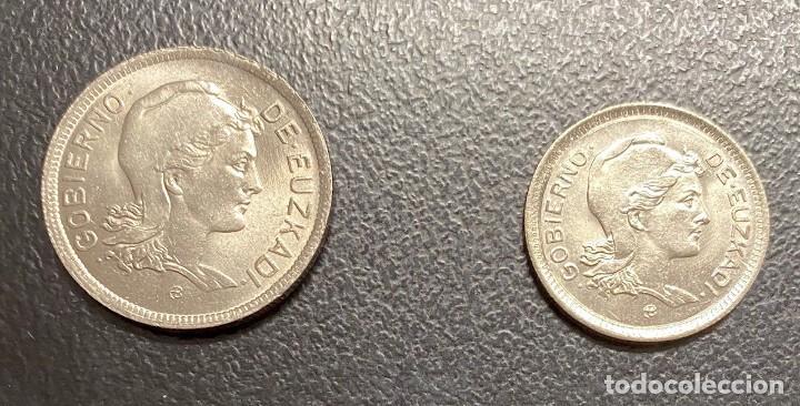 EUZKADI: JUEGO DE DOS MONEDAS DEL AÑO 1937 (Numismática - España Modernas y Contemporáneas - República)