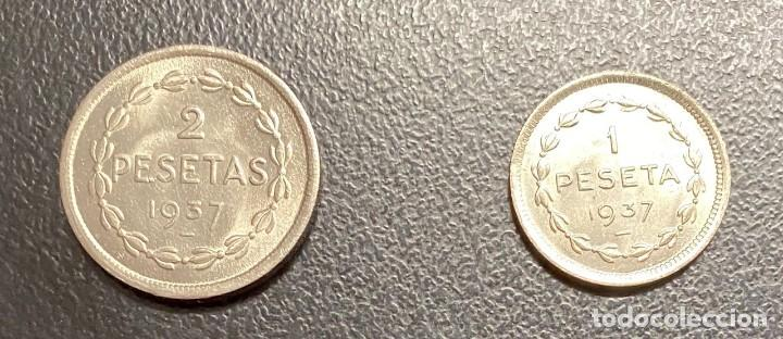Monedas República: EUZKADI: JUEGO DE DOS MONEDAS DEL AÑO 1937 - Foto 2 - 212957217