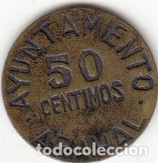 AYUNTAMIENTO DE ARAHAL: MONEDA DE 50 CENTIMOS (Numismática - España Modernas y Contemporáneas - República)