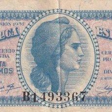 Monedas República: BILLETE DE 0,50 CENT DE LA REPUBLICA ESPAÑOLA. Lote 214346778
