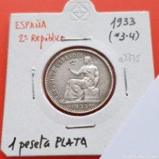 Monnaies République: REPUBLICA ESPAÑOLA 1 PESETA 1933 ESTRELLAS 3 Y 4, PLATA, BONITA. Lote 214734517