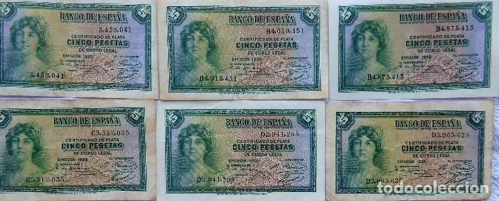 BILL-139. SEIS BILLETES BANCO DE ESPAÑA. 5 PESETAS. EN BUEN ESTADO, CIRCULADOS. EMISION 1935 (Numismática - España Modernas y Contemporáneas - República)