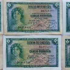 Monedas República: BILL-139. SEIS BILLETES BANCO DE ESPAÑA. 5 PESETAS. EN BUEN ESTADO, CIRCULADOS. EMISION 1935. Lote 215463690