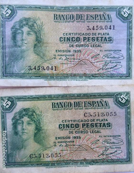 Monedas República: BILL-139. SEIS BILLETES BANCO DE ESPAÑA. 5 PESETAS. EN BUEN ESTADO, CIRCULADOS. EMISION 1935 - Foto 3 - 215463690