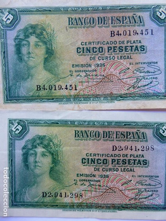 Monedas República: BILL-139. SEIS BILLETES BANCO DE ESPAÑA. 5 PESETAS. EN BUEN ESTADO, CIRCULADOS. EMISION 1935 - Foto 4 - 215463690