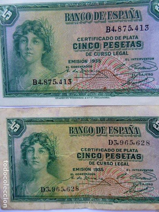 Monedas República: BILL-139. SEIS BILLETES BANCO DE ESPAÑA. 5 PESETAS. EN BUEN ESTADO, CIRCULADOS. EMISION 1935 - Foto 5 - 215463690