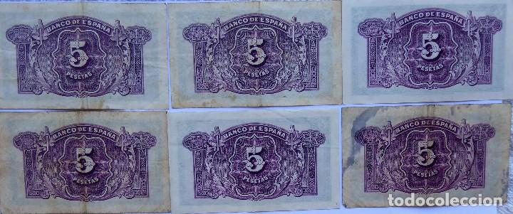Monedas República: BILL-139. SEIS BILLETES BANCO DE ESPAÑA. 5 PESETAS. EN BUEN ESTADO, CIRCULADOS. EMISION 1935 - Foto 2 - 215463690