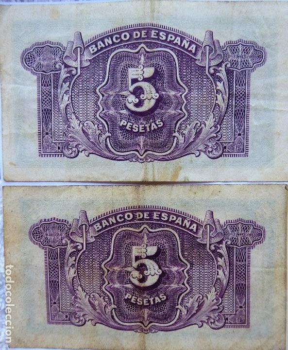 Monedas República: BILL-139. SEIS BILLETES BANCO DE ESPAÑA. 5 PESETAS. EN BUEN ESTADO, CIRCULADOS. EMISION 1935 - Foto 6 - 215463690