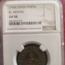 Monedas República: 1 PESETA 1936 EL ARAHAL GUERRA CIVIL. Lote 215988943
