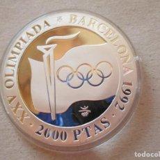 Monedas República: LLAMA OLIMPICA . 2000 PESETAS DE PLATA . BARCELONA 92 . ESTUCHES Y CERTIFICADO . PERFECTA. Lote 217675847